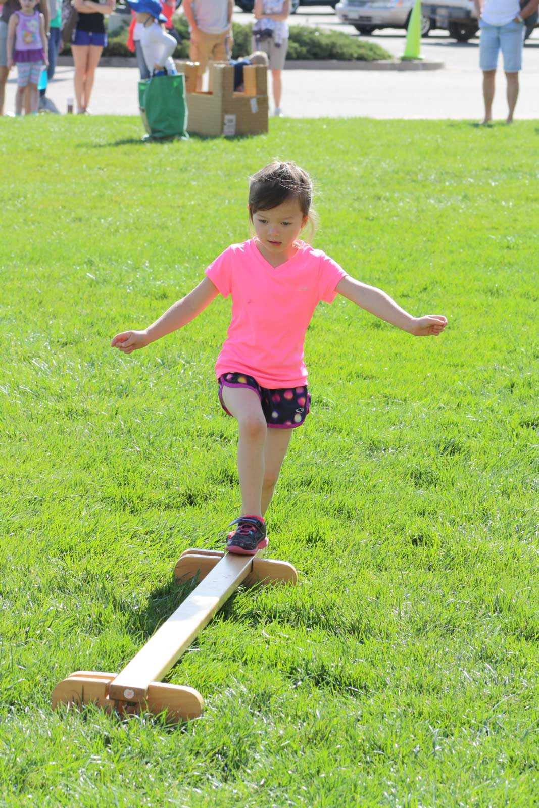 Young child on a small balance beam