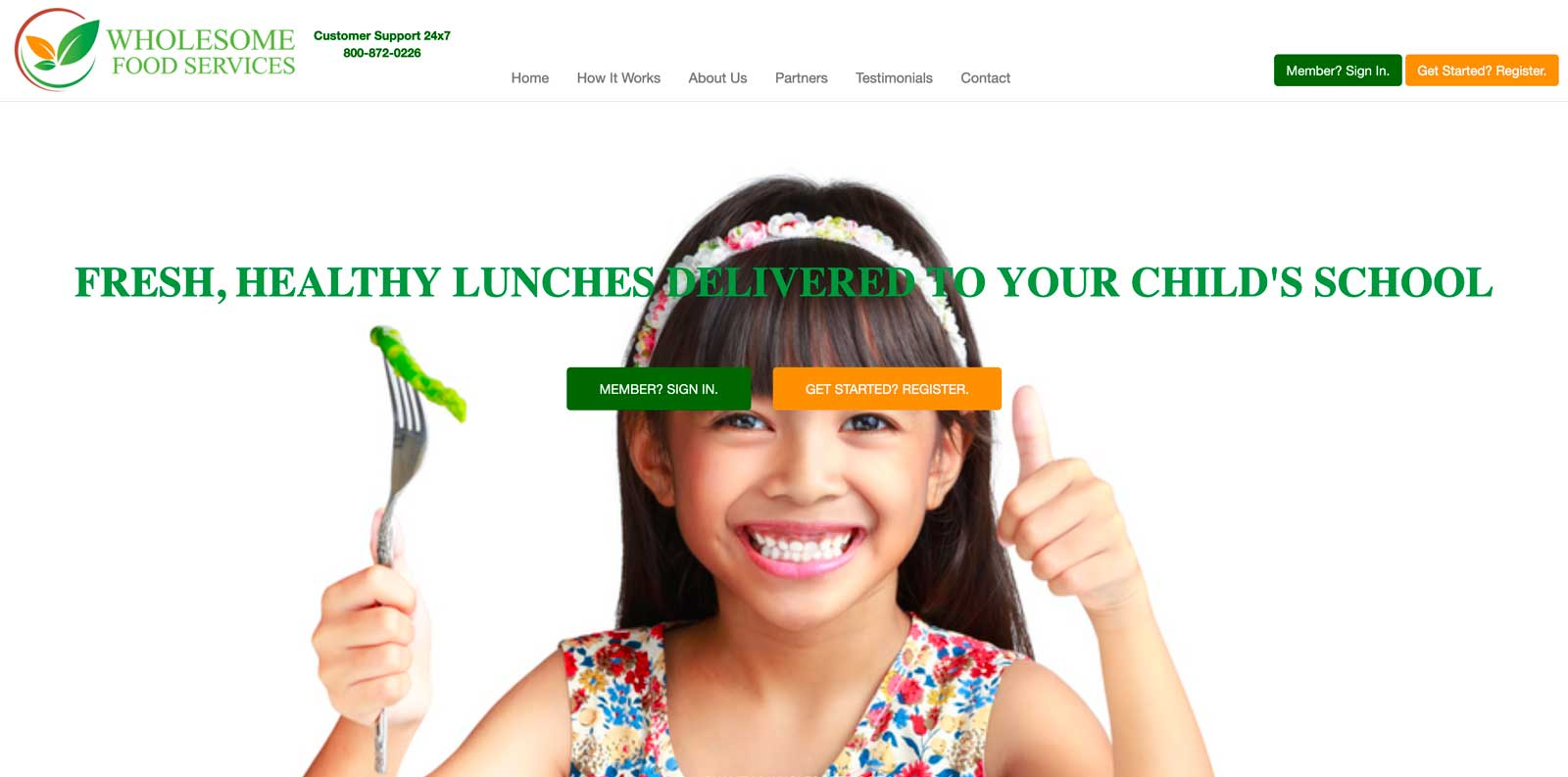 Image of website for Wholesome Food Services